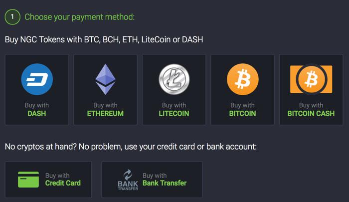 metodi di pagamento di NAGACOIN